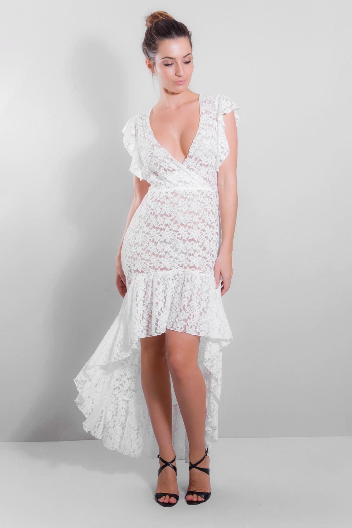 Robe longue évasée blanc, Blandine