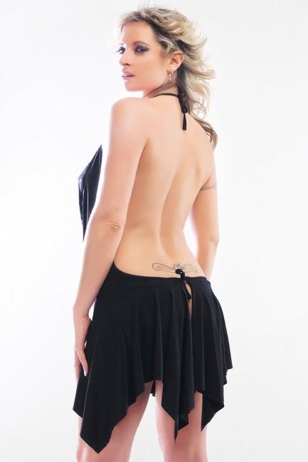 Karine - Robe sexy avec grand decolleté en dentelle et grand dos nu
