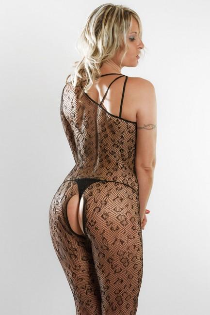 Lingerie sexy - Body résille avec motif léopard et ouverture coquine