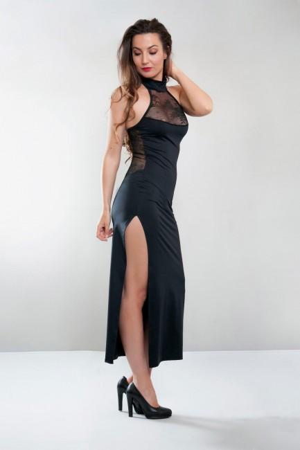 Robe longue fendue, noir, Angelina