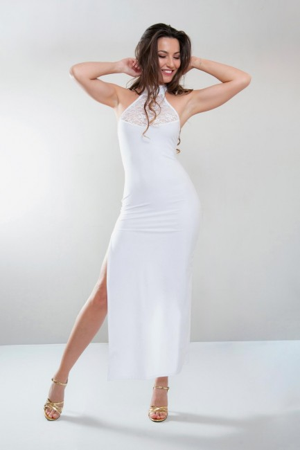 Robe longue fendue, blanc, Angelina