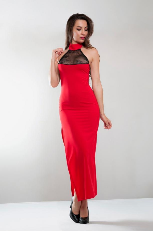 Robe longue fendue, rouge, Angelina