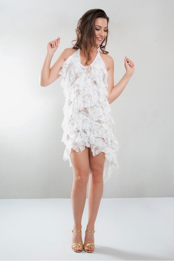 Robe longue volants en dentelle, Charlotte, blanc
