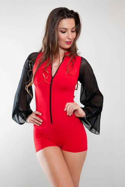 Combi manches voiles rouge KIM