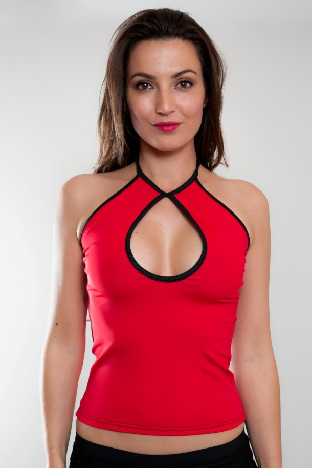 Top moulant rouge MORGANE