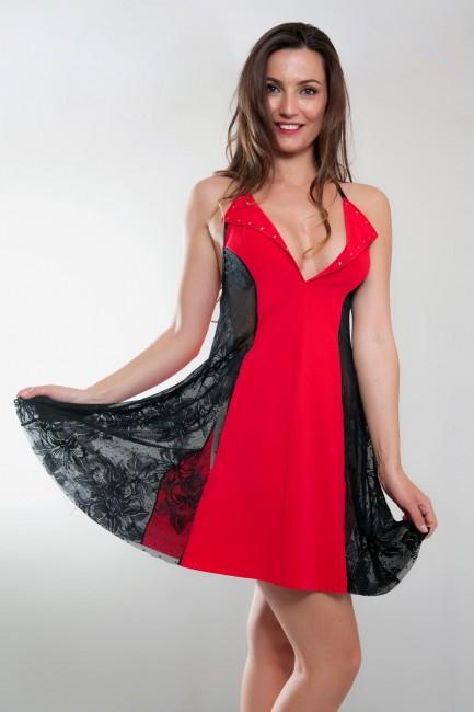 Robe sexy robe trés évasée rouge et noir, NATACHA