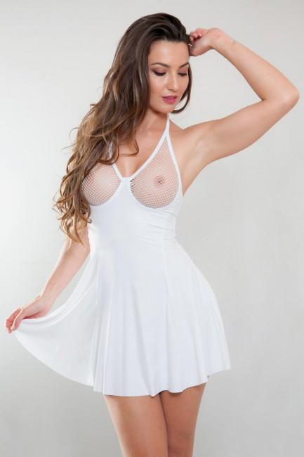 Robe sexy évasé blanc poitrine apparente Betty