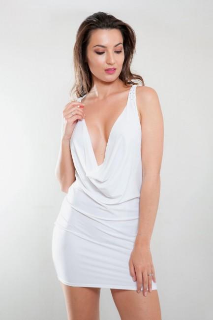 Robe sexy blanc grand décolleté CLEO