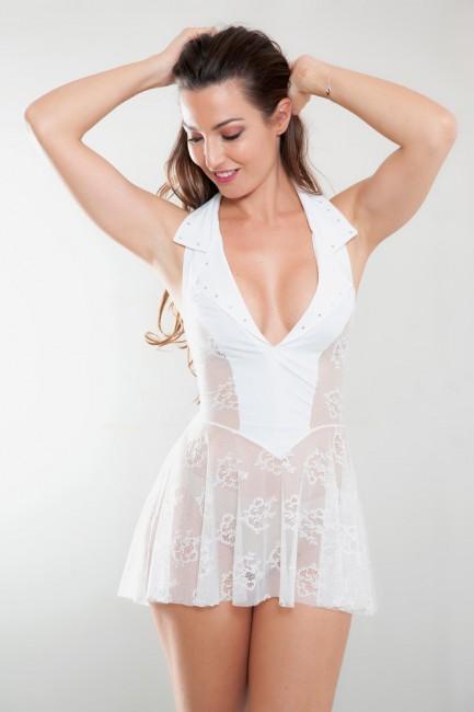 Robe transparente dentelle blanc Mathilde