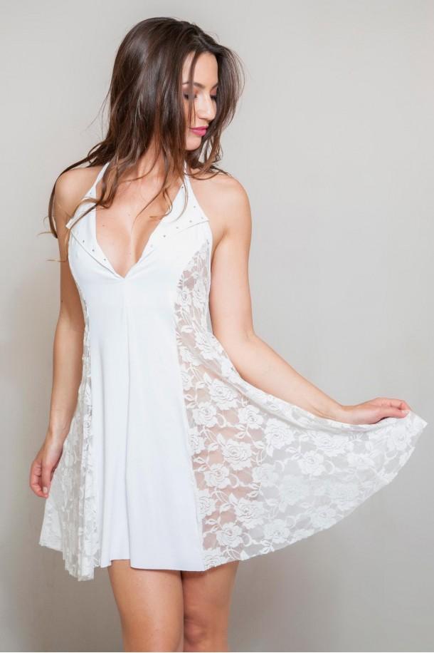 Robe sexy robe trés évasée blanc, NATACHA