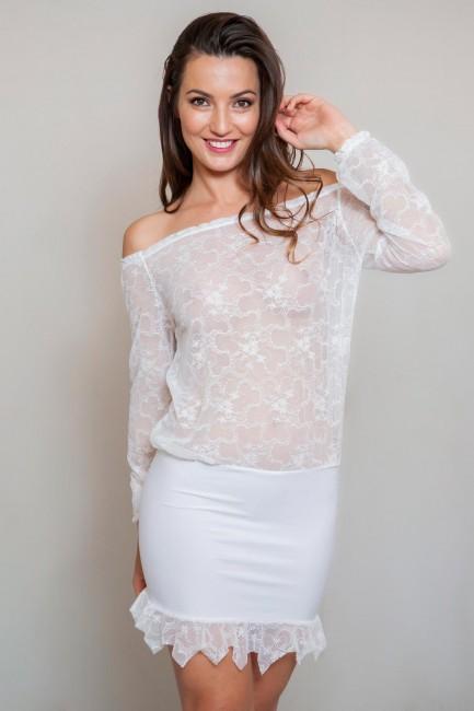 Robe épaules nues dentelle blanc Sylvie