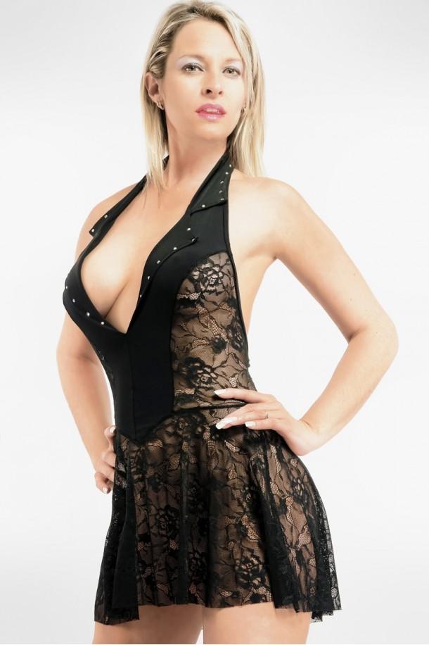 Robe transparente en dentelle à Grand décolleté, dos nu et Strass cristal, Mathilde