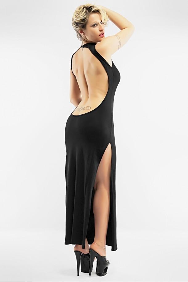 Robe longue sexy Christine à grand dos nu jusqu'à dévoiler la naissance des fesses !