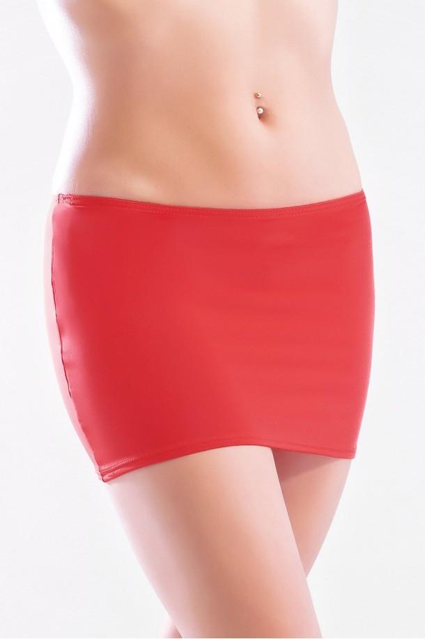 Elodie - Mini jupe simple tissus rouge
