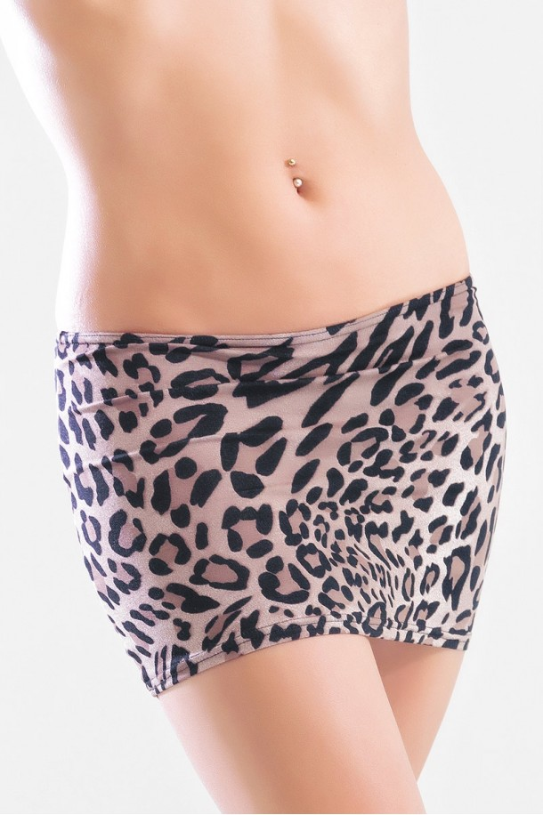 Elodie - Mini jupe simple tissus léopard